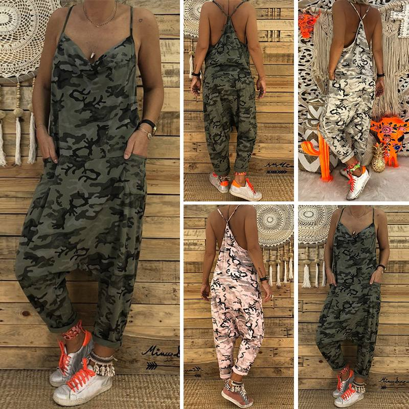 Fashion Camouflage Overalls Women Strap   Jumpsuits   2019 Summer Sexy V Neck Long Pants Playsuit Female Casual Drop Crotch Pantalon