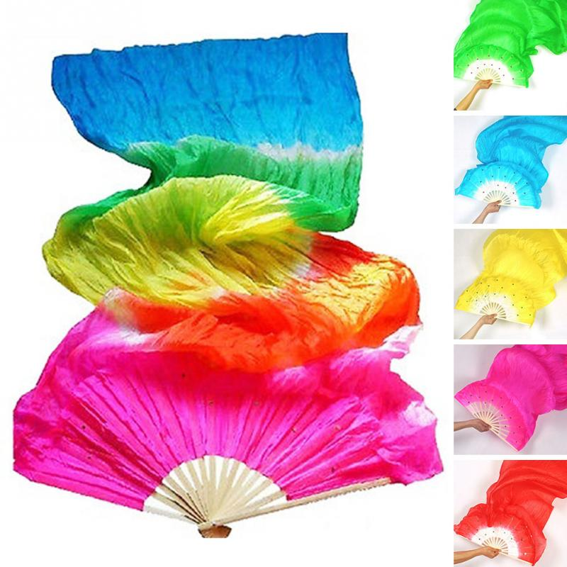 1pc New Colorful Hand Made Women Belly Dancing Fans Tools Good Quality Simulation Silk Bamboo Long Veils Fans For Women~
