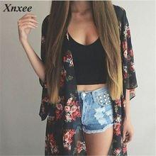 Women Casual Vintage Kimono Cardigan Ladies 2019 Summer Long Crochet Chiffon Kimono preto Loose flora printed Blouse Tops Black недорого