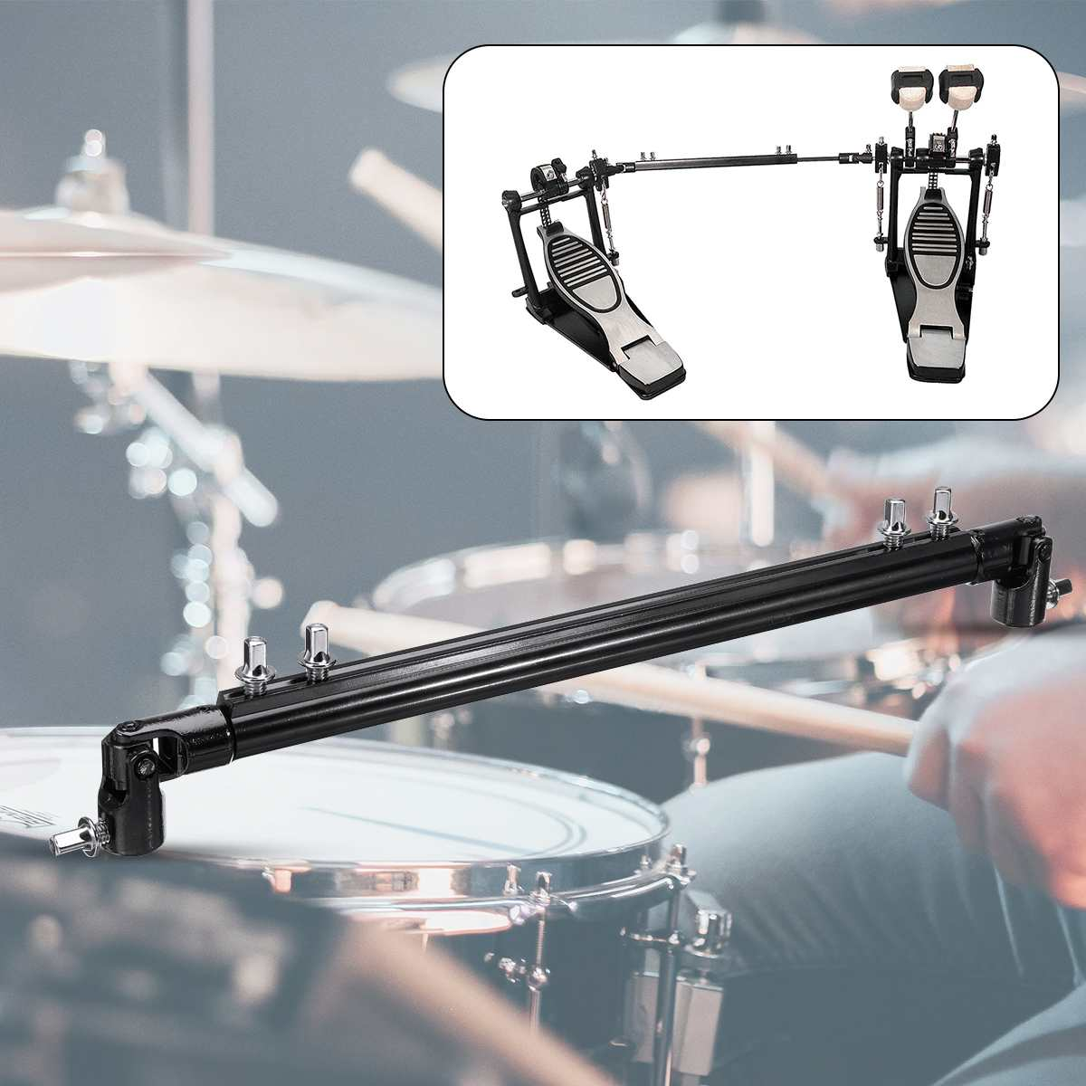 35cm Metal Double Bass Kick Drum Pedal Link Linkage Connecting Rod Driveshaft Bar Rod Black Double Pedal Drive Shaft
