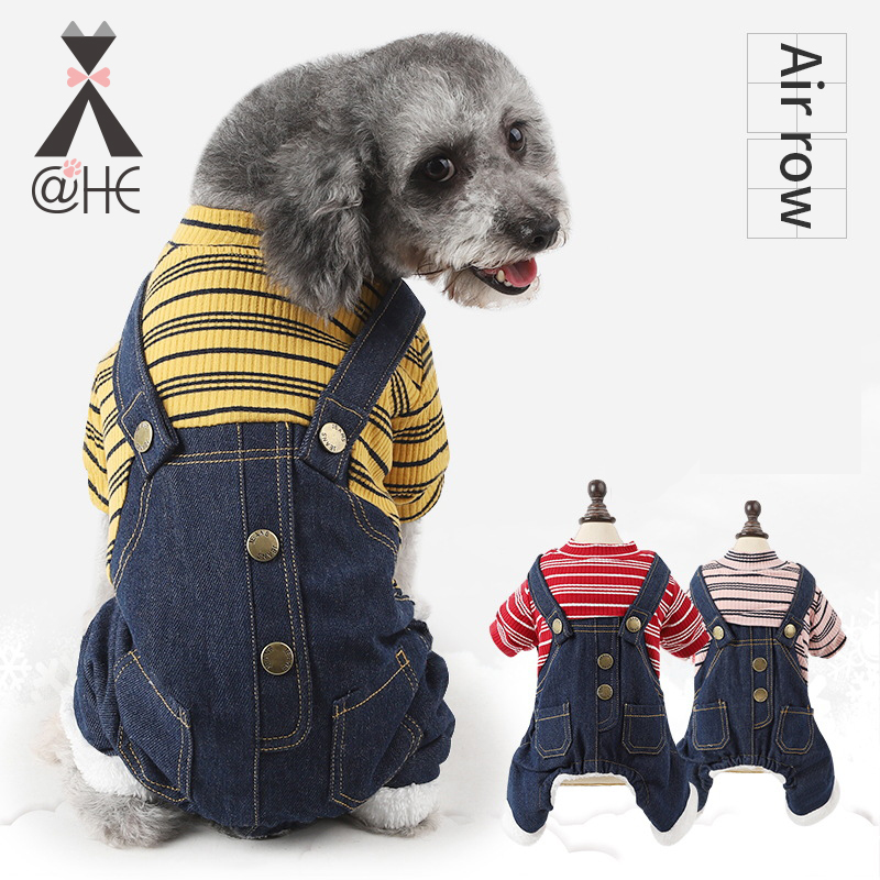 Home & Garden Dog Clothing & Shoes Steady Comfortable Lamb Cashmere Pet Dog Jumpsuit Winter Stripe Jean Coat Four Feet Clothes For Small Dogs Teddy Yorkies Sweatshirt