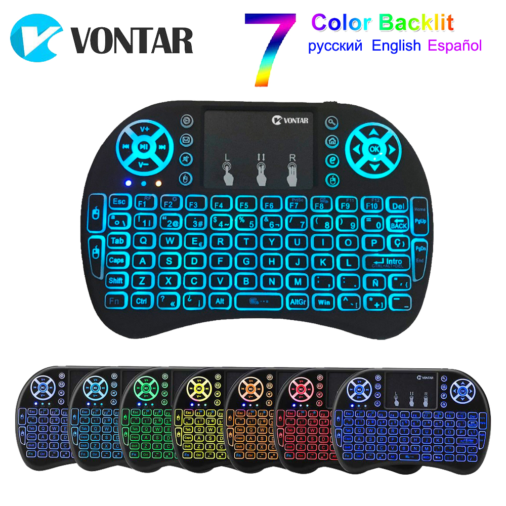 VONTAR <font><b>i8</b></font> <font><b>keyboard</b></font> backlit English Russian Spanish Air Mouse 2.4GHz Wireless <font><b>Keyboard</b></font> Touchpad Handheld for TV Box H96 max PC image
