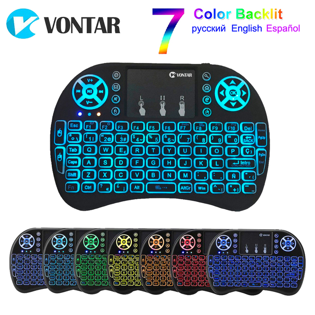 VONTAR i8 keyboard backlit English Russian Spanish Air Mouse 2 4GHz Wireless Keyboard Touchpad Handheld for