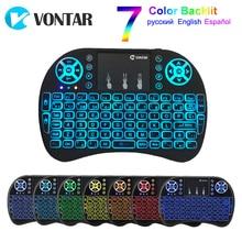 VONTAR i8 Клавиатура с подсветкой Английский Русский Испанский Air mouse 2,4 ГГц Беспроводная сенсорная клавиатура ручной для ТВ-приставки Android X96
