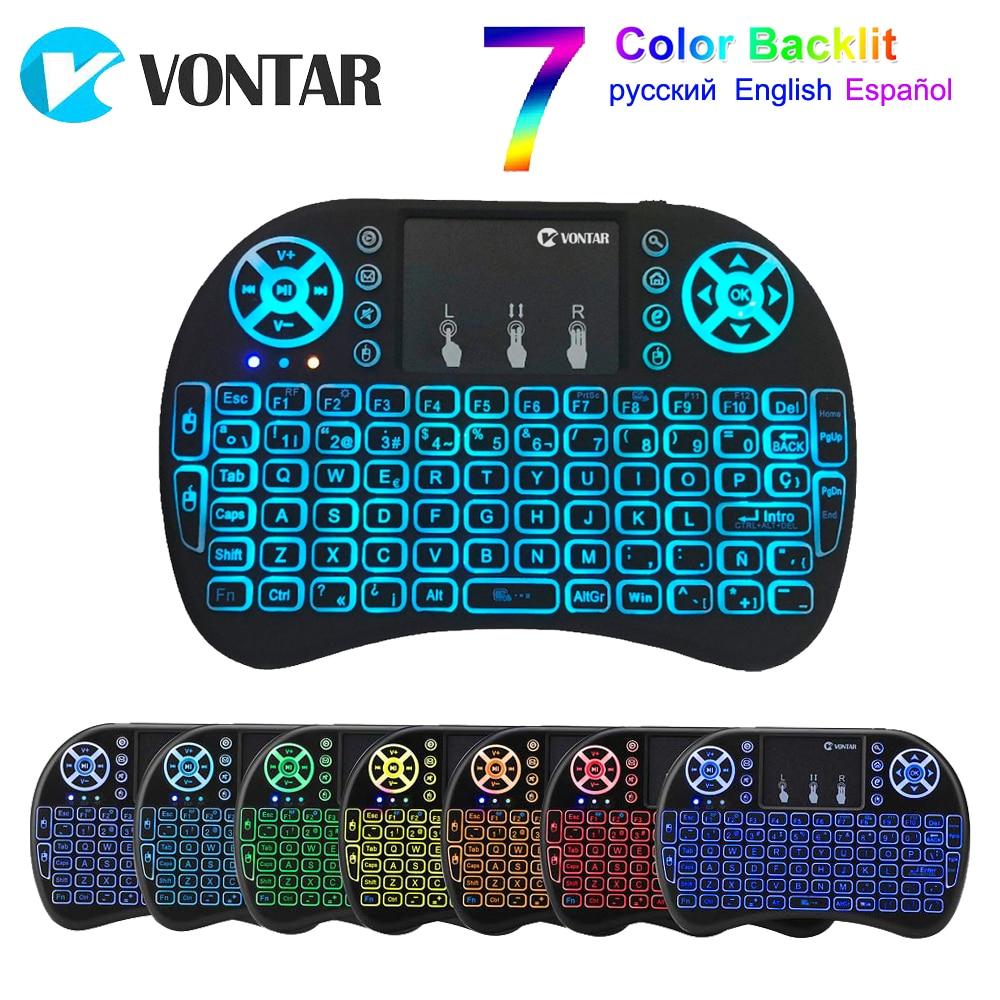 VONTAR i8 retroiluminación inglés ruso Air Mouse 2,4 GHz teclado inalámbrico Touchpad portátil para Android TV caja de X96. t9