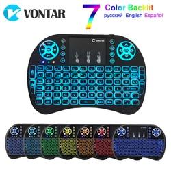 Vontar I8 Keyboard Backlit Inggris Rusia Spanyol Air Mouse 2.4G Hz Keyboard Nirkabel Touchpad Handheld untuk TV Box Android X96