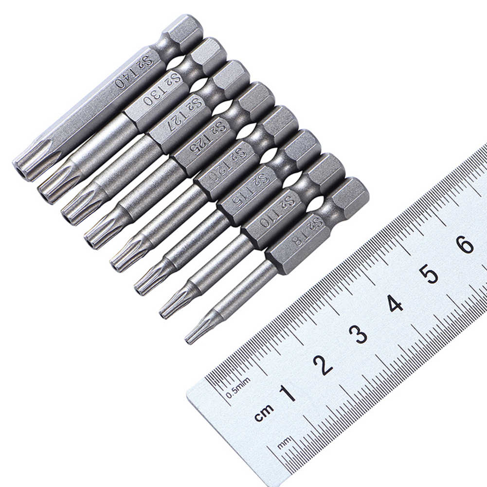 """50mm 8Pcs OR 12Pcs Set Security Tamper Proof Magnetic Screwdriver Drill Bit Screw Driver Bits Hex Torx Flat Head 1/4"""" Hand Tools"""