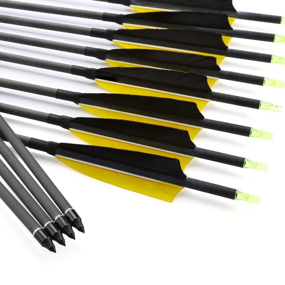 12pcs 30 32 Inch Archery Pure Carbon Arrow Spine 300 600 for Recurve Bow or Compound