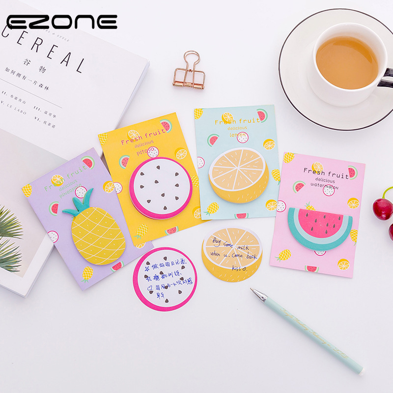 EZONE Self-Adhesive Fresh Fruits Sticky Notes Office Memo Pad Watermelon/Pineapple/Pitaya/Orange Sticky Notes Gifts Stationery