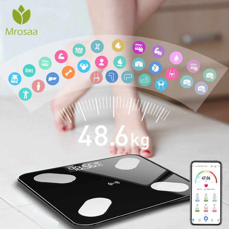 Mrosaa 26*26 ซม.Body Fat Scale Smart BMI LED ดิจิตอลไร้สายเครื่องชั่งน้ำหนักบลูทูธ APP android IOS