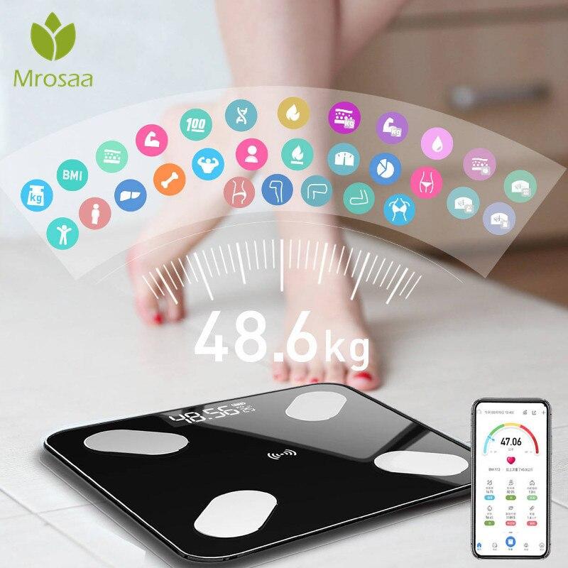 Mrosaa 26*26cm escala de gordura corporal inteligente bmi escala led digital banheiro balança de peso sem fio equilíbrio bluetooth app android ios
