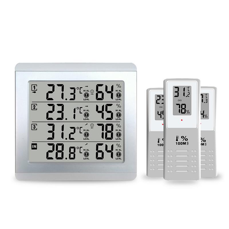 1 Para 3 pantallas grandes grabador de temperatura multicanal DC5V termómetro de alarma inalámbrico higrómetro para invernadero interior al aire libre