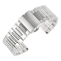 Silber Farbe 22mm Uhren Straps Edelstahl Uhr Band Armband für Frauen Männer Uhr Uhr Ersatz Armband Armband