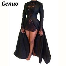 цена на Genuo lace chiffon two piece set sexy women long sleeve coat dress floral lace mini dress suits formal party dress club outfit