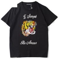 Hip Hop Black Tiger Embroidery T Shirts Men 2019 Summer Creative Brand Design T shirts Harajuku Streetwear Couple Tops Tee Wj258