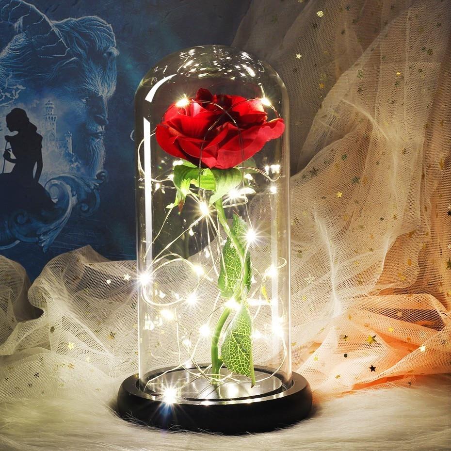 Belleza y el bestia LED flor Rosa Luz negro Base de cúpula de vidrio mejor para el día de la madre, regalo de día de San Valentín