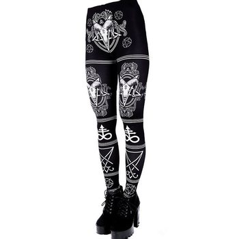 Summer Women Fitness Leggings Streetwear Gothic Print Casual Leggins Push Up Sexy Plus Size 5XL Workout Black High Waist Legging 1