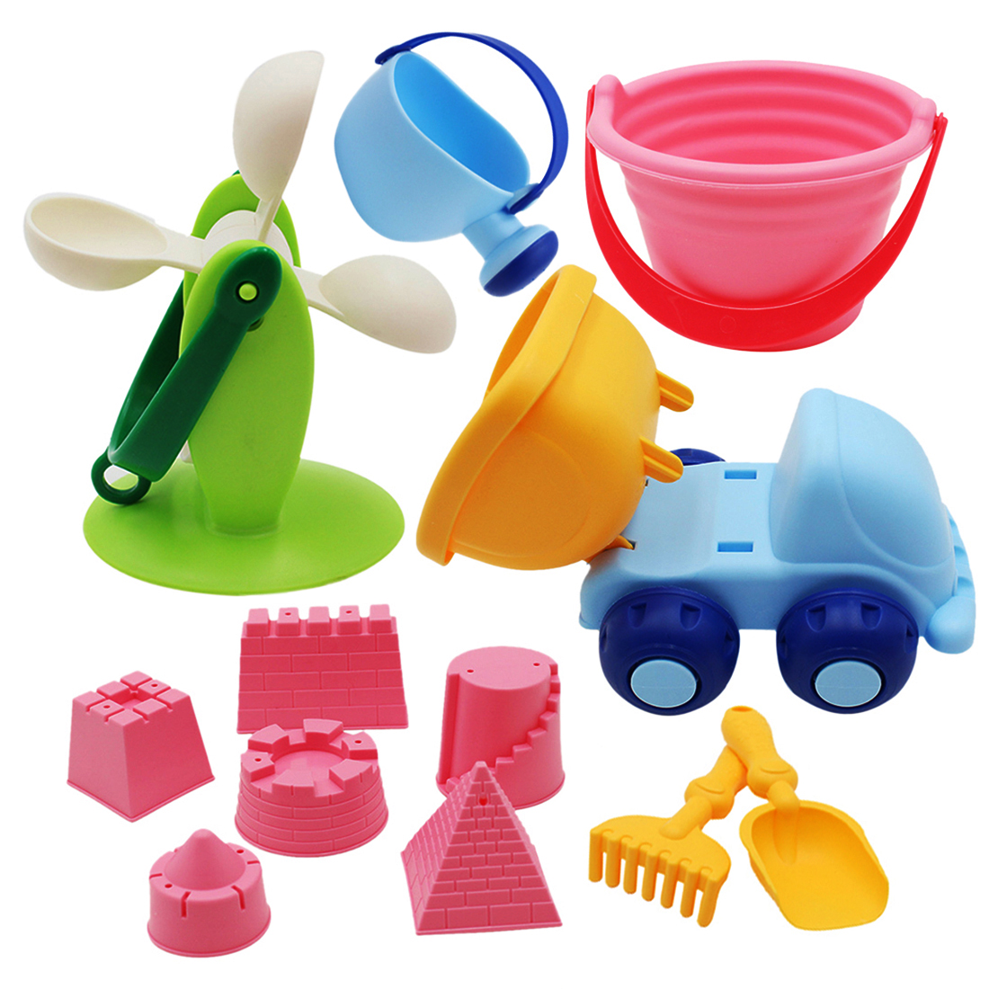 12Pcs Soft Rubber Baby Beach Bucket Toy Set Beach Toy Bath Play Set Sand Molds Tool Water Game Sand Playing For Children Kids