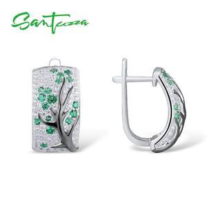 Image 5 - SANTUZZA gümüş takı seti kadınlar için yeşil şube kiraz ağacı küpe yüzük seti 925 ayar gümüş narin moda takı