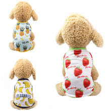 HOT New Dog Spring Summer Skirt Banana Dog Shirt Fruit Printed Strawberry Pineapple T-shirt Pet Clothes Dog Supplies XS S Size(China)