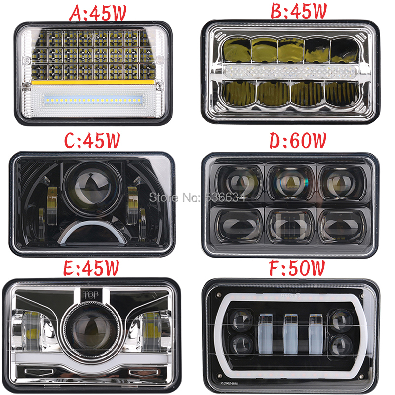 4PCS 4x6 5inch Durable Square LED Work Light High Low Beam for Western Star 4900 Toyota