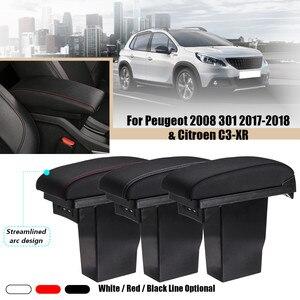 Автомобильный кожаный обтекаемый подлокотник Подлокотник центральный ящик для хранения 3USB для Peugeot 301 2008 301 2017 2018 для Citroen C3-XR