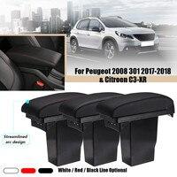 Car Leather Streamlined Armrest Arm Rest Central Storage Box 3USB For Peugeot 301 2008 301 2017 2018 For Citroen C3 XR