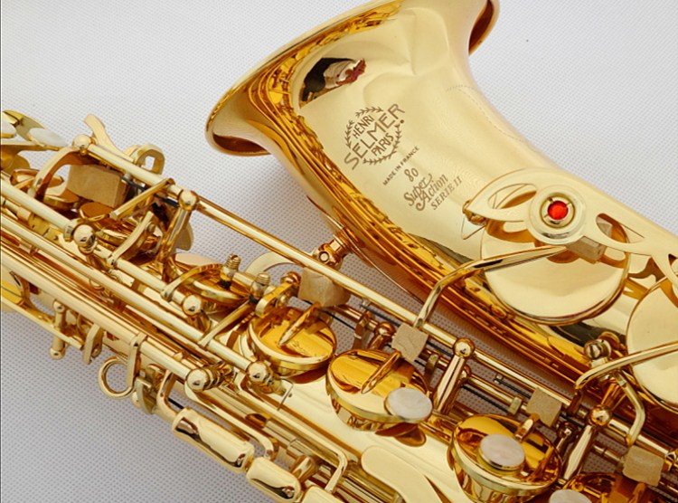 Best Selling ORIGINAL SELME Alto Saxophone 80 E Flat Electrophoresis Gold Saxe Top Musical Instrument with