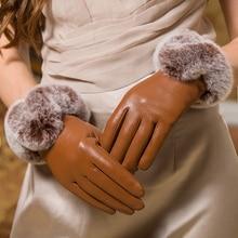 Sheepskin gloves winter rex rabbits hair genuine leather telefingers add velvet thick warm woman ml099