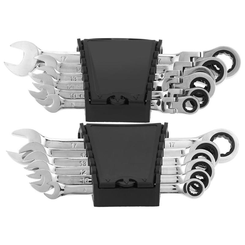 6pcs/set CRV Steel 72 Teeth Ratchet Wrench Set Multiuse Wrenches Dual Use Spanners Tools Kit Fixed/Movable Head Combination Tool
