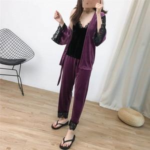 Image 2 - Lisacmvpnel 3 pièces or velours garder au chaud pyjamas dentelle Sexy Robe + chemise de nuit + longue pantalon ensemble Pyjama pour les femmes