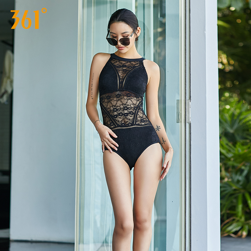 361 Women Backless Triangle Swimwear Sexy One Piece Transparent Swimsuit Solid Black Sexy Padded Push Up Beach Swimsuit Bathing in Body Suits from Sports Entertainment