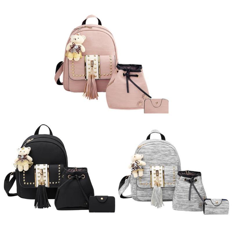 3pcs/set Women Backpack PU Leather Backpack Teenager Girls Backpacks Ruck Shoulder Bag Female Student School Bags Tassel