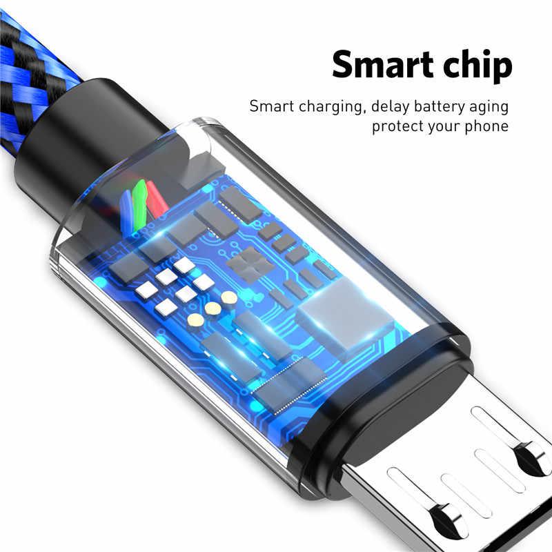 USLION مايكرو كابل usb لسامسونج Xiaomi اللوحي الروبوت USB كابل شحن 2A سريع تهمة USB كابل بيانات سلك Microusb كابل الشاحن
