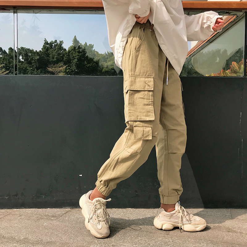 Random Streetwear Cargo   Pants   Women Casual Joggers Black High Waist Loose Female Trousers Korean Style Ladies   Pants     Capri