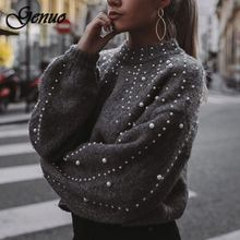 Winter Turtleneck Sweaters Pearl Beading Sweater Warm Lantern Sleeve Women Jumper Female Loose Gray Pullover Pull Knitted недорого