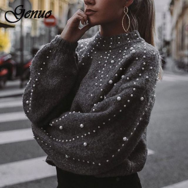 Winter Turtleneck Sweaters Pearl Beading Sweater Warm Lantern Sleeve Women Jumper Female Loose Gray Pullover Pull Knitted