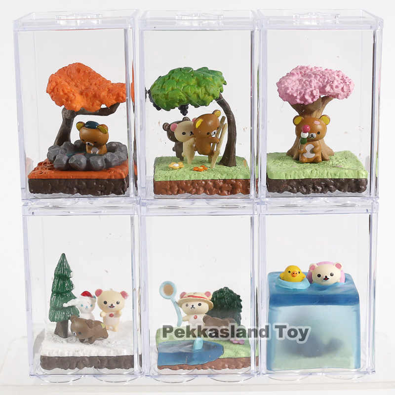 Cartoon Kawaii Rilakkuma Bär Saisonale Terrarium PVC Figuren Spielzeug 6-pack