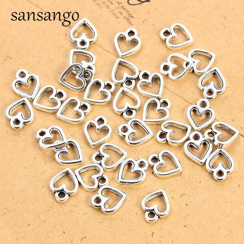 1set OR 10pcs Charms Mini Stainless Steel Cross Dolphin Star Love Heart Pendant