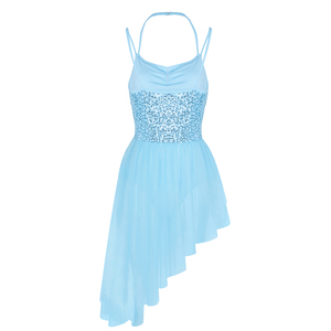Image 3 - Lady kobiety sukienka baletowa paski Spaghetti Halter cekiny nieregularne Tulle taniec baletowy gimnastyka sukienka trykot trykoty dla kobiet