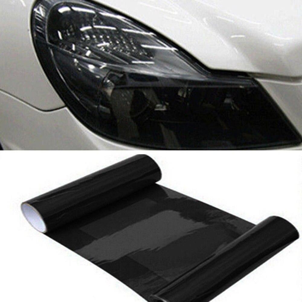 30*180cm Dark Black Car Gloss Headlight Film Taillight Fog Light Vinyl Tint Sheet Car Headlight Color Film