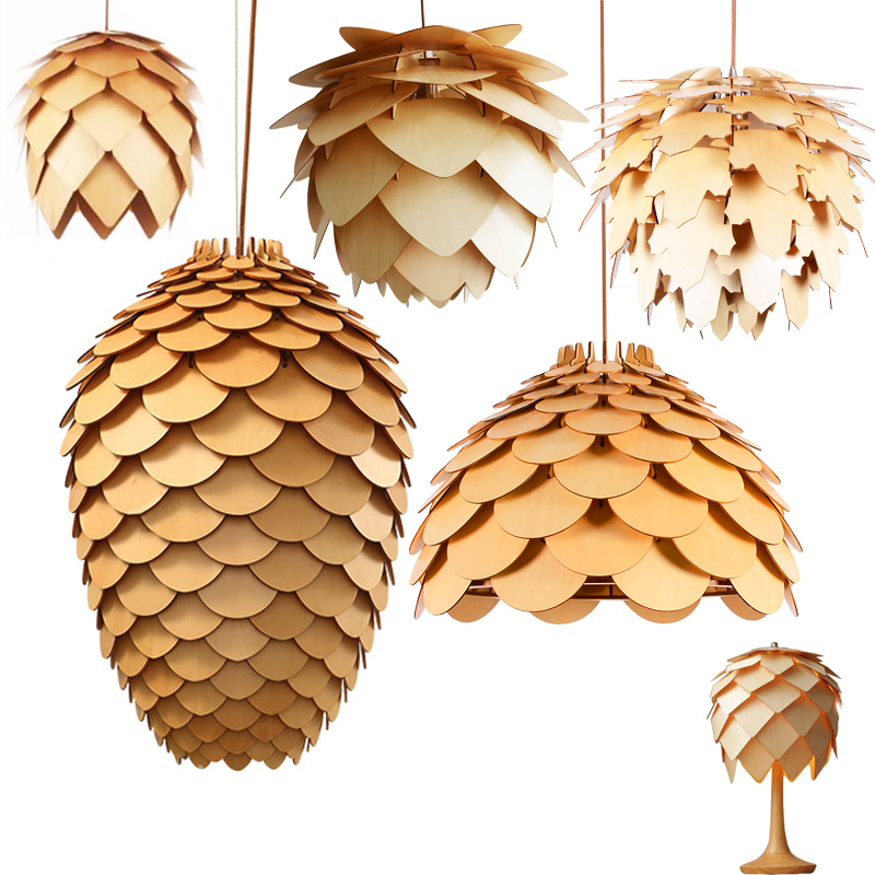 OAK Wooden Pinecone Pendant Lights Hanging Wood  Artichoke Lamps Dinning Room Restaurant Retro Fixtures Lighting