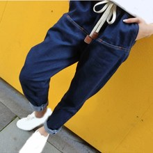 Spring Women Harem Jeans Loose Blue Elastic High Waist Trousers Casual Female Full Length Denim Pants lemonmiyu long infants boy trousers elastic waist cotton baby jeans full length pants newborn cartoon mid casual spring pants