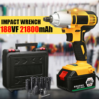 98/128/168/188VF Cordless Impact Wrench Electric Brushless Socket Drill Installation 1/2'' LED Light Li on Battery Rechargeable