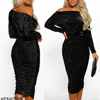 New arrival sexy solid Off Shoulder slim  Elegant Women Sexy Boat Neck Glitter Bodycon Dress Evening Party Formal