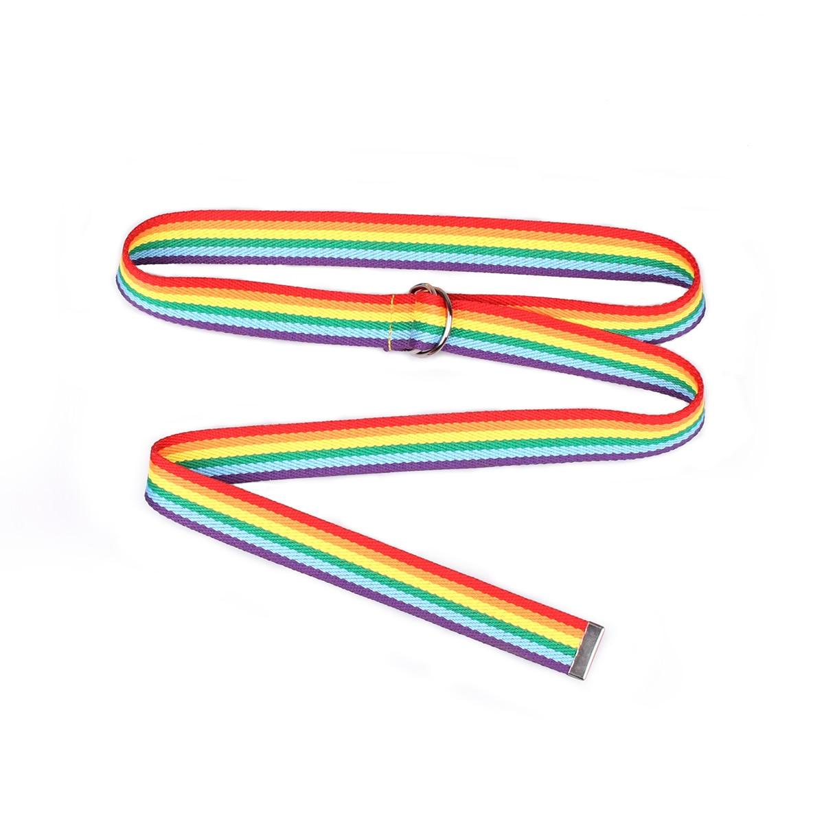 New Pattern Korean Fashion Unisex Rainbow Plain Webbing Men Waist Belt Waistband Casual Canvas Belt Alloy Circle Thin Strap