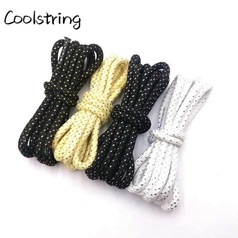 Coolstring 4,5mm Mode Gestreiften Glitter Runde Seil Schnürsenkel Shiny Schimmernde Schnürsenkel Shiny Sparkly Für Sport Leinwand Schuhe