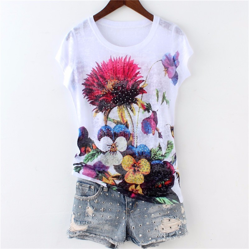 Fashion hot drilling floral t shirt women short sleeve thin o-neck tops Plus size 2019 new arrivals