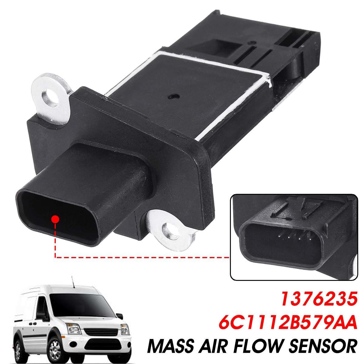 Mass Air Flow Sensor Meter For Ford Transit MK7 Mondeo S-MAX Galaxy for PEUGEOT VOLVO 1376235 6C1112B579AAMass Air Flow Sensor Meter For Ford Transit MK7 Mondeo S-MAX Galaxy for PEUGEOT VOLVO 1376235 6C1112B579AA