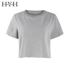 HYH HAOYIHUI 2019 Girl New Summer T-shirt Simplicity Age Reduction Sexy Navel Exposed Round Collar Short Sleeve